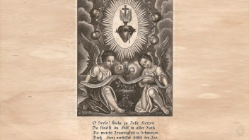 Sacred Heart & Angels Engraving Antique German