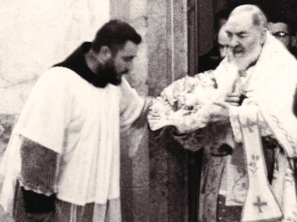Padre Pio carrying the Bambino Gesu to the manger on Christmas Eve.