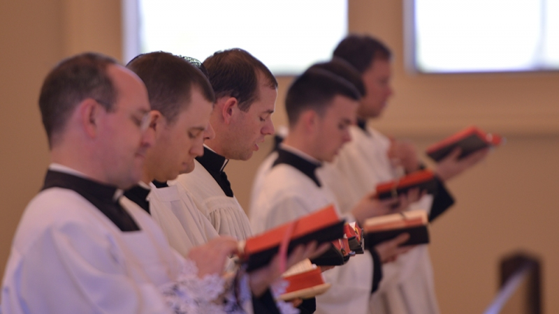 Priests at Benediction in Choir
