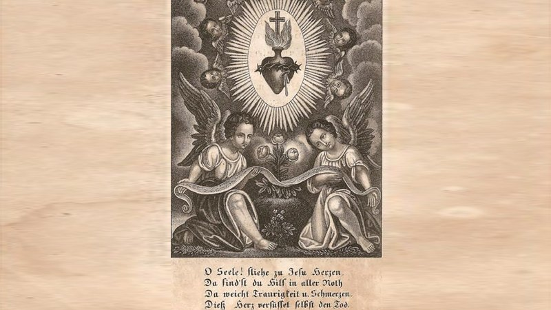 Sacred Heart & Angels Engraving Antique German